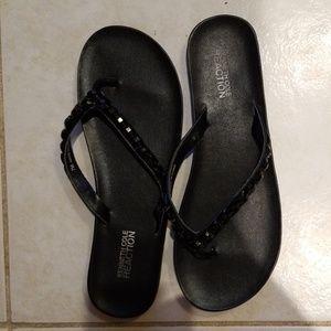 KENNETH COLE Women Black Studs Flip Flap